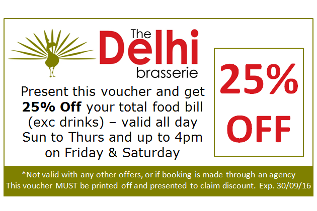 Special Offer Coupon at Delhi Brasserie Indian Restaurant Soho